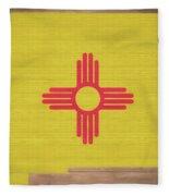 New Mexico Rustic Map On Wood Fleece Blanket