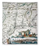 New Netherland Map Fleece Blanket