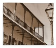 New Orleans Balcony With Lamp Fleece Blanket