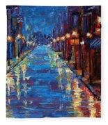 New Orleans Bourbon Street Fleece Blanket