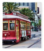 New Orleans Canal Streetcars  Fleece Blanket