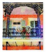 New Orleans French Quarter Balcony Fleece Blanket