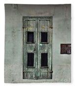New Orleans Green Doors Fleece Blanket