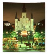 New Orleans Night Photo - Saint Louis Cathedral Fleece Blanket