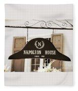 New Orleans Sign - Napoleon House - Sepia Fleece Blanket
