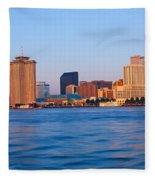 New Orleans Skyline From Algiers Point Fleece Blanket