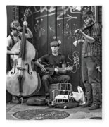 New Orleans Street Musicians Bw Fleece Blanket