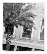 New Orleans Windows - Black And White Fleece Blanket