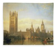 New Palace Of Westminster From The River Thames Fleece Blanket