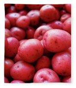 New Red Potatoes For Sale In A Market Fleece Blanket