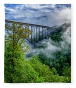 New River Gorge Bridge Morning  Fleece Blanket