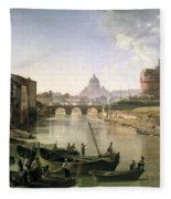 New Rome With The Castel Sant Angelo Fleece Blanket