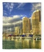 Ala Wai Harbor Waikiki Yacht Club Honolulu Hawaii Collection Art Fleece Blanket