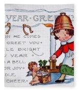 New Year Postcard Fleece Blanket