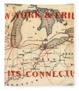 New York And Erie Railroad Map 1855 Fleece Blanket