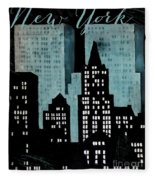 New York Art Deco Fleece Blanket