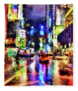 New York At Night - 14 Fleece Blanket