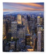 New York At Night Fleece Blanket