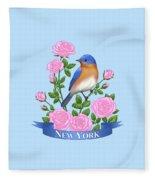 New York Bluebird And Pink Roses Fleece Blanket