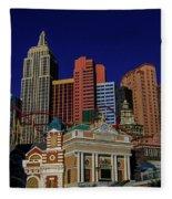 New York Casino At Night Fleece Blanket