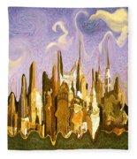 New York City 2200 - Modern Art Fleece Blanket