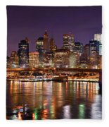 New York City Brooklyn Bridge And Lower Manhattan At Night Nyc Fleece Blanket