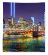 New York City Brooklyn Bridge Tribute In Lights Freedom Tower World Trade Center Wtc Manhattan Nyc Fleece Blanket