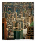 New York City Buildings And Skyline Fleece Blanket