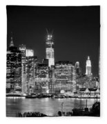 New York City Bw Tribute In Lights And Lower Manhattan At Night Black And White Nyc Fleece Blanket