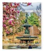 New York City Central Park Bethesda Fountain Blossoms Fleece Blanket
