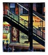 New York City Elevated Subway Stairs Fleece Blanket