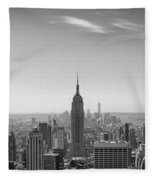 New York City - Empire State Building Panorama Black And White - 2015 Edition Fleece Blanket
