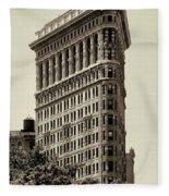 New York City - Flatiron In Sepia Fleece Blanket
