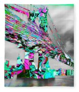 New York City Manhattan Bridge Pure Pop Green Fleece Blanket