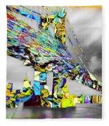New York City Manhattan Bridge Pure Pop Gold Fleece Blanket