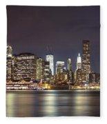 New York City - Manhattan Waterfront At Night Fleece Blanket