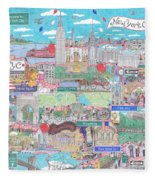 New York City On A Sunny Day Fleece Blanket