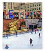 New York City Rockefeller Center Ice Rink Fleece Blanket