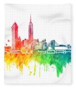 New York City Skyline Color Fleece Blanket
