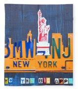 New York City Skyline License Plate Art Fleece Blanket