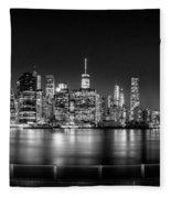 New York City Skyline Panorama At Night Bw Fleece Blanket