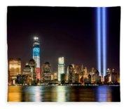 New York City Skyline Tribute In Lights And Lower Manhattan At Night Nyc Fleece Blanket