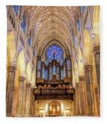 New York City St Patrick's Cathedral Organ Fleece Blanket