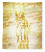 New York City Statue Of Liberty With American Banner - Golden Painting Fleece Blanket