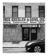 New York City Storefront Bw4 Fleece Blanket