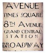 New York City Street Sign Fleece Blanket