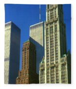 New York City - Woolworth Building And World Trade Center Fleece Blanket