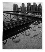 New York City You're Beautiful Brooklyn Bridge Ny Black And White Fleece Blanket