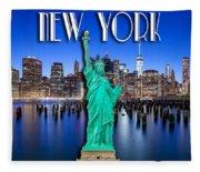 New York Classic Skyline With Statue Of Liberty Fleece Blanket