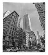 New York Fifth Avenue Taxis Empire State Building Black And White Fleece Blanket